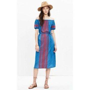 Madewell Dress Blue Indigo Mercado Embroidered XS